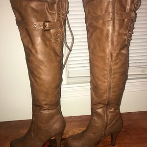 Forever 21 lace up heeled boots